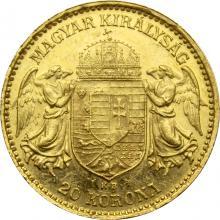Zlatá minca Dvadsaťkorunáčka Františka Jozefa I. Uhorská razba 1905