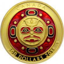 Zlatá mince Zpívající měsíční maska Ultra high relief 2015 Proof (.99999)