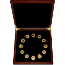 Luxusní sada 12 zlatých mincí 1/10 Oz Lunární série II. 2008 - 2019