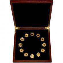 Luxusná sada 12 zlatých mincí 1/10 Oz Lunárna séria II. 2008 - 2019