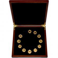 Luxusní sada 11 zlatých mincí 1/10 Oz Lunární série II. 2008 - 2019