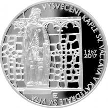 Strieborná minca 200 Kč Vysvetenie kaple sv. Václava 650. výročie 2017 Proof