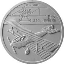 Stříbrná mince 200 Kč Sestrojení prvního letadla Bohemia B-5 100. výročí 2019 Standard