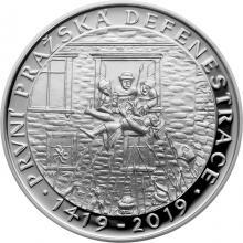Stříbrná mince 200 Kč První pražská defenestrace 600. výročí 2019 Proof