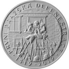 Strieborná minca 200 Kč Prvá pražská defenestrácia 600. výročie 2019 Štandard