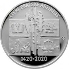 Stříbrná mince 200 Kč Vydání Čtyř pražských artikul 600. výročí 2020 Proof