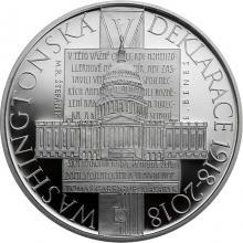 Strieborná minca 500 Kč Prijatie Washingtonskej deklarácie 100. výročie 2018 Proof