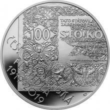 Strieborná minca 500 Kč Zahájenie vydávania čs platidiel 100. výročie 2019 Proof