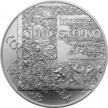 Stříbrná mince 500 Kč Zahájení vydávání československých platidel 100.výročí 2019 Standard