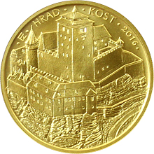 Zlatá minca 5000 Kč Hrad Kost 2016 Štandard
