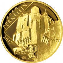 Zlatá minca 5000 Kč Hrad Pernštejn 2017 Proof