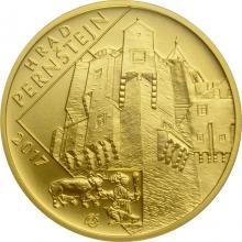 Zlatá mince 5000 Kč Hrad Pernštejn 2017 Standard