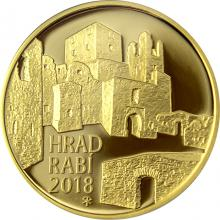 Zlatá minca 5000 Kč Hrad Rabí 2018 Proof