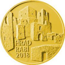 Zlatá minca 5000 Kč Hrad Rabí 2018 Štandard