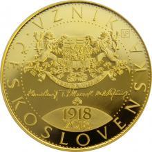 Zlatá mince 10000 Kč Vznik Československa 1oz 2018 Proof