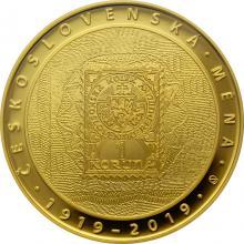 Zlatá mince 10000 Kč Zavedení československé měny 1oz 2019 Proof