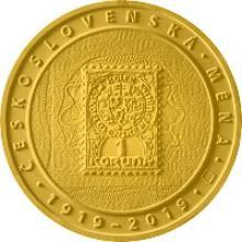 Zlatá minca 10000 Kč Zavedenie československé meny 1oz 2019 Proof