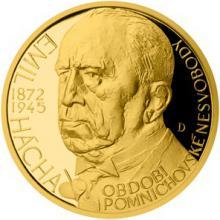 Zlatý dukát Českoslovenští prezidenti - Emil Hácha 2015 Proof