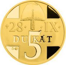 Pětidukát svatého Václava se zlatým certifikátem 2015 Proof