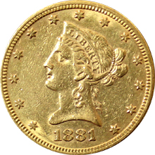 Zlatá mince 10 Dolar American Eagle Liberty Head 1881