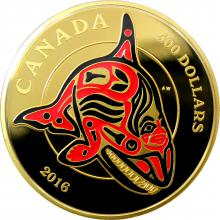 Zlatá mince 5 Oz Orca Mythical Realms of the Haida 2016 Proof