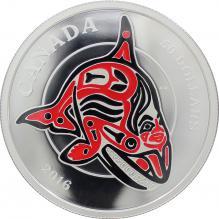 Stříbrná mince 5 Oz Orca Mythical Realms of the Haida 2016 Proof (.9999)