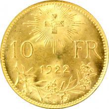 Zlatá mince 10 Frank Helvetia 1922