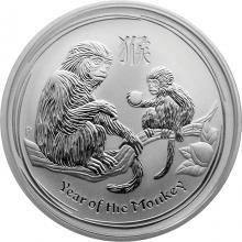 Stříbrná investiční mince Year of the Monkey Rok Opice Lunární 1/2 Oz 2016