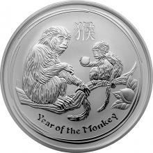 Stříbrná investiční mince Year of the Monkey Rok Opice Lunární 2 Oz 2016