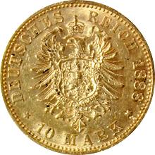 Zlatá mince 10 Marka Fridrich III. Pruský 1888