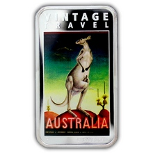 Stříbrná mince Australia Vintage Travel Poster Kangaroo 1 Oz 2014 Proof