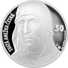 Stříbrná medaile s motivem 50 Kč bankovky - sv. Anežka Česká 2016 Proof
