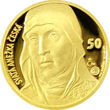 Zlatá medaile s motivem 50 Kč bankovky - sv. Anežka Česká 2016 Proof