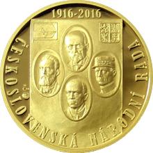 Zlatá půluncová medaile Vznik Československé národní rady 2016 Proof