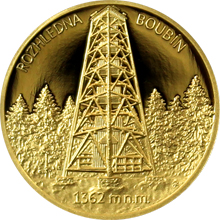 Zlatá čtvrtuncová medaile Rozhledna Boubín 2016 Proof