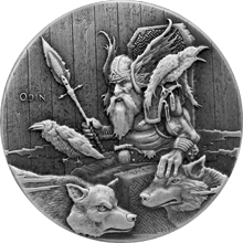 Stříbrná mince 2 Oz Ódin Viking Series 2015 Antique Standard