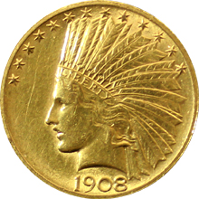 Zlatá mince Indian Head American Eagle 1908