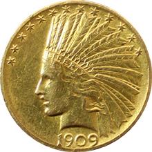Zlatá mince Indian Head American Eagle 1909