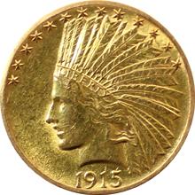 Zlatá mince Indian Head American Eagle 1915