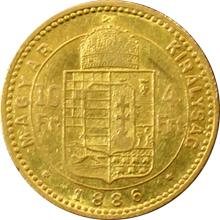 Zlatá mince Čtyřzlatník Františka Josefa I. 10 Franků 4 Forinty 1886