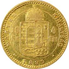 Zlatá mince Čtyřzlatník Františka Josefa I. 10 Franků 4 Forinty 1885