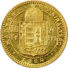 Zlatá mince Čtyřzlatník Františka Josefa I. 10 Franků 4 Forinty 1884