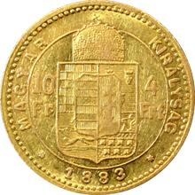 Zlatá mince Čtyřzlatník Františka Josefa I. 10 Franků 4 Forinty 1883