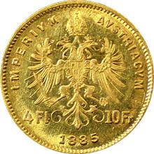 Zlatá mince Čtyřzlatník Františka Josefa I. 4 Gulden 10 Franků 1885