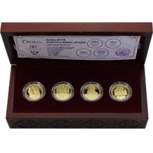 Sada čtyř zlatých mincí 10 NZD 700. výročí narození Karla IV. 2016 Proof