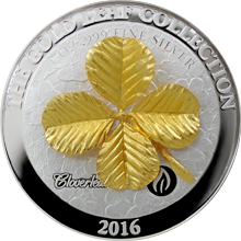 Stříbrná mince 3D Zlatý Four Leaf Clover 1 Oz Gold Leaf Collection 2016 Proof