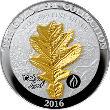 Stříbrná mince 3D Zlatý Oak Leaf 1 Oz Gold Leaf Collection 2016 Proof