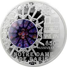 Stříbrná mince Katedrála Notre-Dame Růžicové okno 2013 Proof
