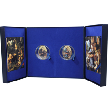 Madona ve skalách Louvre a National Gallery Sada stříbrných mincí 2014 Drahokamy Proof