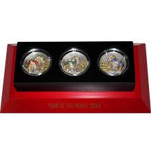Sada stříbrných mincí Rok Koně 3D Pavé 2014 Krystaly Proof